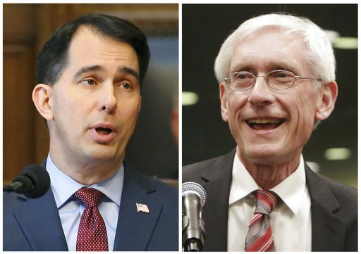 (Wisconsin State Journal via AP, File). FILE - This combination of file photos shows Wisconsin Republican Gov. Scott Walker, left, and his Democratic challenger Tony Evers in the 2018 November general election.