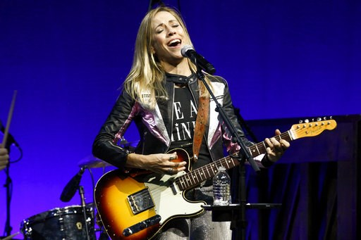 "(Photo by Andy Kropa/Invision/AP). Sheryl Crow performs at the Elton John AIDS Foundation's 17th annual ""An Enduring Vision"" benefit gala at Cipriani 42nd Street on Monday, Nov. 5, 2018, in New York."