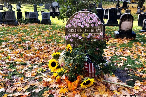 "(Jessica Crane via AP). This photo provided by Jessica Crane shows Susan B. Anthony's grave decorated with 'I Voted' stickers in Rochester, N.Y., Tuesday, Nov. 6, 2018. Voters showed up by the dozens to put their ""I Voted"" stickers on the headstone, an..."