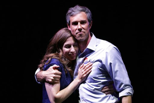 (AP Photo/Eric Gay). U.S. Rep. Beto O'Rourke, the 2018 Democratic Candidate for U.S. Senate in Texas, right, and his wife, Amy Sanders, stand together during his election night party, Tuesday, Nov. 6, 2018, in El Paso, Texas., after he was defeated by ...