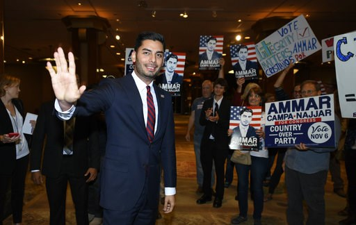 (AP Photo/Denis Poroy). Democratic congressional candidate Ammar Campa-Najjar talks to supporters on Tuesday Nov. 6, 2018, in San Diego. Campa-Najjar faces Republican U.S. Rep. Duncan Hunter in the race for Southern California's 50th district.