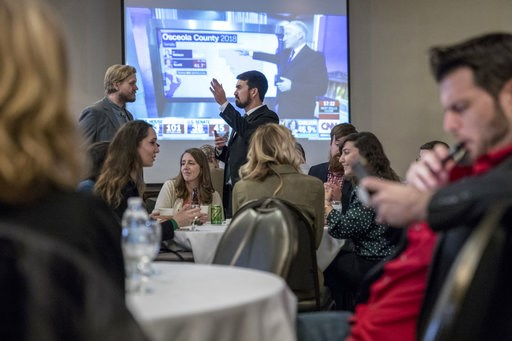(Cory Morse/The Grand Rapids Press via AP). A crowd waits for election results to come in for Proposal 18-1 during the Coalition to Regulate Marijuana Like Alcohol public watch party at The Radisson in Lansing, Mich., on Tuesday, Nov. 6, 2018.