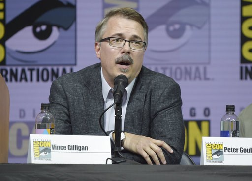"""(Photo by Richard Shotwell/Invision/AP, File). FILE - In this July 19, 2018 file photo, """"Breaking Bad"""" creator Vince Gilligan speaks at the """"Better Call Saul"""" panel at Comic-Con International in San Diego. """"Breaking Bad"""" star Bryan Cranston has confirm..."""