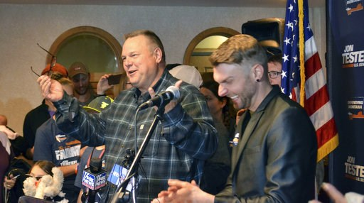 (AP Photo/Peter Banda). Sen. Jon Tester surrounded by family and supporters, announces his victory Wednesday, Nov. 7, 2018, in Great Falls, Mont. Tester has won a third term in the U.S. Senate by beating Republican Matt Rosendale. Tester won Tuesday's ...