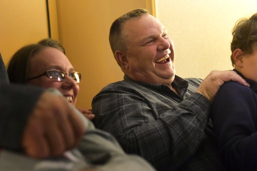 (Thom Bridge/Independent Record via AP). Sen. Jon Tester awaits election results Tuesday, Nov. 6, 2018, surrounded by family member in Great Falls, Mont. Tester is running against Mont. State Auditor Matt Rosendale to keep his seat in the Senate.
