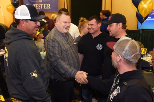 (Thom Bridge/Independent Record via AP). Montana Senator Jon Tester meets with supporters Tuesday, Nov. 6, 2018, at his election party in Great Falls, Mont.