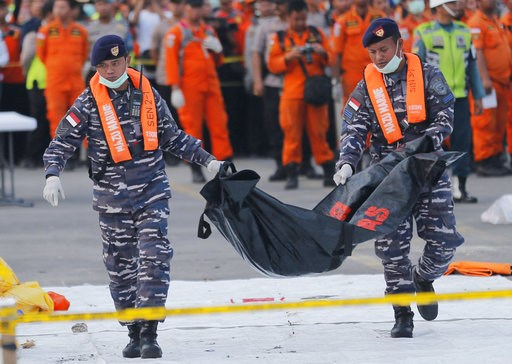 (AP Photo/Tatan Syuflana, File). FILE - In this Thursday, Nov. 1, 2018, file photo, navy personnel carry the remains of a victim of Lion Air jet that crashed into the sea at the Tanjung Priok Port in Jakarta, Indonesia. Boeing Co. says it has issued a ...