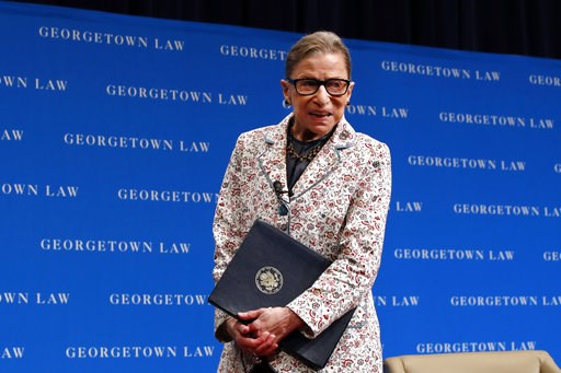 (AP Photo/Jacquelyn Martin, File). FILE - In this Sept. 26, 2018, file photo, Supreme Court Justice Ruth Bader Ginsburg leaves the stage after speaking to first-year students at Georgetown Law in Washington. Ginsburg has been hospitalized after fractur...