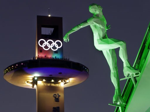(AP Photo/Michael Probst, File). FILE - In this Feb. 9, 2018 file photo, a speed skating figure is displayed in front of the Alpensia Ski Jumping Center ahead of the 2018 Winter Olympics in Pyeongchang, South Korea. A growing sex-abuse problem in Olymp...