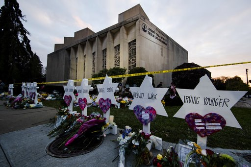 (AP Photo/Matt Rourke, File). FILE - In this Oct. 29, 2018, file photo, a makeshift memorial stands outside the Tree of Life synagogue in the aftermath of a deadly shooting at the in Pittsburgh. A moment of silence to honor the 11 people killed in the ...