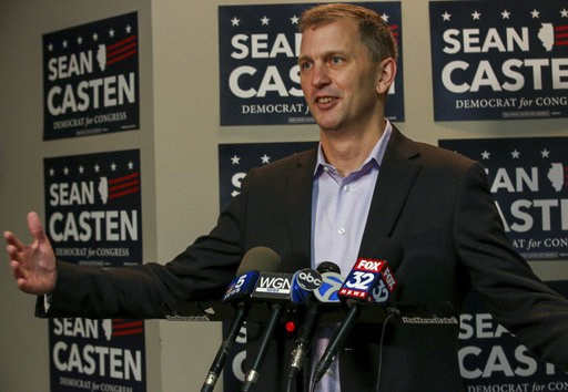 (Bev Horne/Daily Herald via AP)/Daily Herald via AP). FILE - In this Nov. 7, 2018 file photo, Illinois Sixth Congressional District winner Sean Casten takes questions at a press  conference in Downers Grove, Ill., about his win in the Nov. 6, 2018 gene...