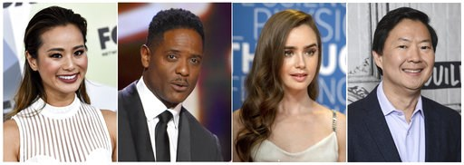(AP Photo). This combination photo shows actors Jamie Chung, from left, Blair Underwood, Lily Collins and Ken Jeong who read selected passages from four winning scripts  Thursday, Nov. 8, 2018, that were selected out of a pool of nearly 6,700 submissio...