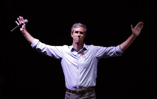 (AP Photo/Eric Gay, File). FILE - In this Nov. 6, 2018, file photo, Rep. Beto O'Rourke, D-Texas, the 2018 Democratic Candidate for U.S. Senate in Texas, makes his concession speech at his election night party in El Paso, Texas. O'Rourke didn't turn Tex...