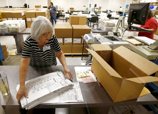 (AP Photo/Ross D. Franklin). Workers at the Maricopa County Recorder's Office go through ballots Thursday, Nov. 8, 2018, in Phoenix. There are several races too close to call in Arizona, especially the Senate race between Democratic candidate Kyrsten S...