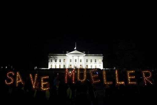 "(AP Photo/Andrew Harnik). Protesters gather in front of the White House in Washington, Thursday, Nov. 8, 2018, as part of a nationwide ""Protect Mueller"" campaign demanding that Acting U.S. Attorney General Matthew Whitaker recuse himself from overseein..."