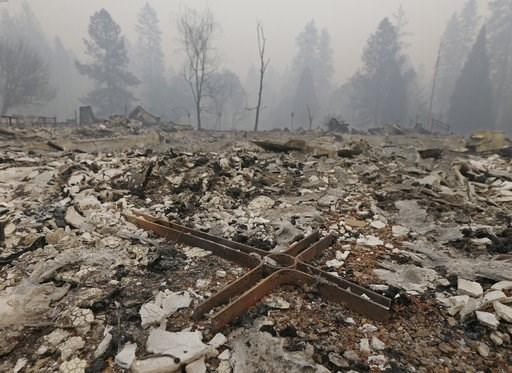 (AP Photo/Rich Pedroncelli). A cross is among the rubble of the Our Savior Lutheran Church Friday, Nov. 9, 2018, in Paradise, Calif. The church was destroyed by a wildfire that swept through the area Thursday. Authorities have confirmed that at least s...