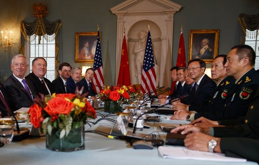 (AP Photo/Carolyn Kaster). Secretary of Defense Jim Mattis, left, Secretary of State Mike Pompeo, second from left, Chinese Politburo Member Yang Jiechi, third from right, and Chinese State Councilor and Defense Minister General Wei Fenghe, second from...