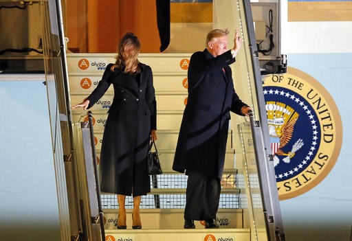 (AP Photo/Michel Euler). President Donald Trump and first lady Melania Trump alight from Air Force One, after arriving at Orly airport near Paris, Friday, Nov. 9, 2018. Trump is joining other world leaders at centennial commemorations in Paris this wee...