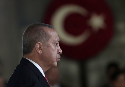 (AP Photo/Burhan Ozbilici). Turkey's President Recep Tayyip Erdogan attends a wreath-laying ceremony at the mausoleum of the nation's founding father Mustafa Kemal Ataturk, during a ceremony to mark the 80th anniversary of his death, in Ankara, Turkey,...