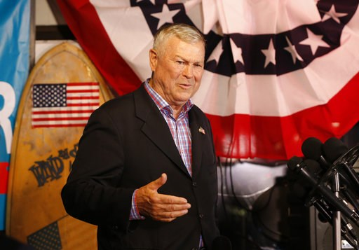 (AP Photo/Damian Dovarganes). U.S. Rep. Dana Rohrabacher, R-Costa Mesa, addresses members of the media and supporters waiting for election results at the Skosh Monahan's Irish Pub in Costa Mesa, Calif., Tuesday, Nov. 6, 2018. Rohrabacher's opponent is ...