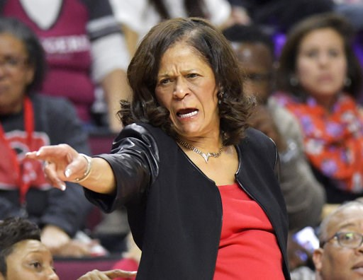 (AP Photo/Bill Kostroun). Rutgers head coach C. Vivian Stringer directs her team during the second quarter of an NCAA college basketball game against Central Connecticut, Tuesday, Nov. 13, 2018, in Piscataway, N.J.