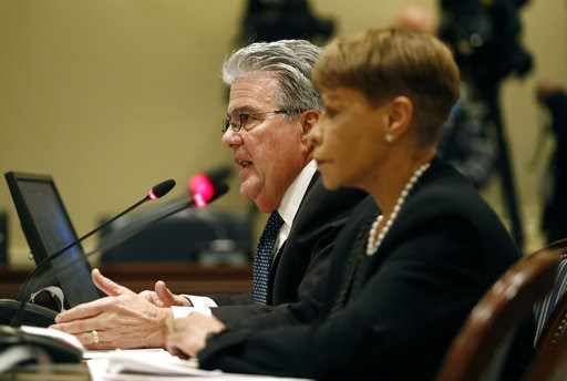 (AP Photo/Patrick Semansky). University System of Maryland chancellor Robert Caret, left, speaks alongside Board of Regents chair Linda Gooden at a House of Delegates appropriations committee hearing, Thursday, Nov. 15, 2018, in Annapolis, Md. The hear...