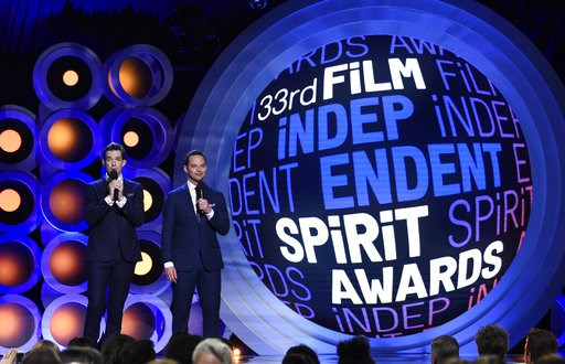 (Photo by Chris Pizzello/Invision/AP, File). FILE - In this Saturday, March 3, 2018 file photo, hosts John Mulaney, left, and Nick Kroll speak at the 33rd Film Independent Spirit Awards in Santa Monica, Calif. The nominees for the 34th Independent Spir...