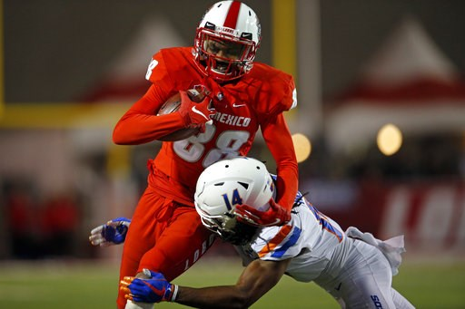 (AP Photo/Andres Leighton). New Mexico tight end Marcus Williams (88) is tackled by Boise State cornerback Tyler Horton during the first half of an NCAA college football game in Albuquerque, N.M., Friday, Nov. 16, 2018.