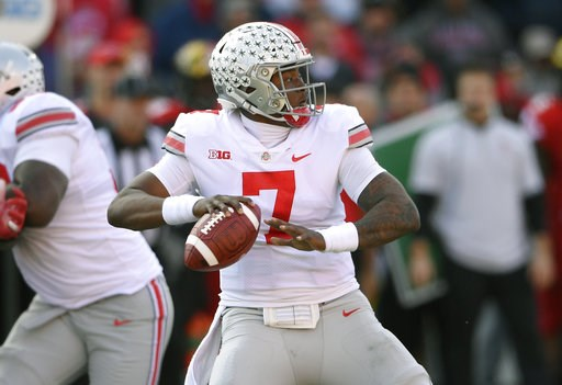 (AP Photo/Nick Wass). Ohio State quarterback Dwayne Haskins Jr. (7) looks to pass during the first half of an NCAA football game against Maryland, Saturday, Nov. 17, 2018, in College Park, Md.