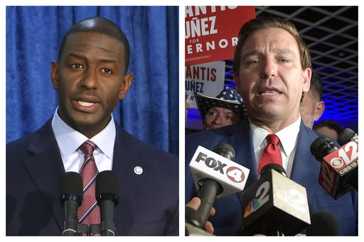 (AP Photo/Steve Cannon, Phelan M. Ebenhack). This combination of November 2018 photo shows Andrew Gillum, left, the Democratic candidate for governor, and  Republican candidate Ron DeSantis. On Saturday, Nov. 17, 2018, Gillum ended his hard-fought camp...