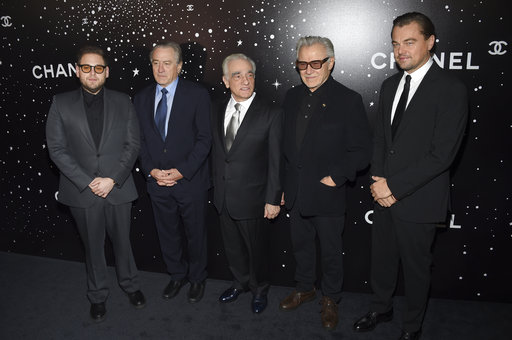 (Photo by Evan Agostini/Invision/AP). Honoree Martin Scorsese, center, poses with actors Jonah Hill, left, Robert De Niro, Harvey Keitel and Leonardo DiCaprio at the Museum of Modern Art Film Benefit tribute to Martin Scorsese, presented by Chanel, on ...