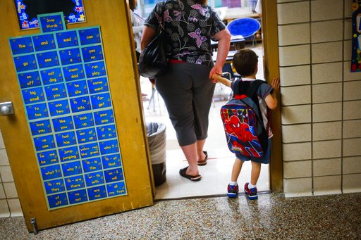 (Christian Randolph/The Flint Journal via AP, File). FILE - In this Sept. 8, 2015 file photo, a reluctant student is pulled into the first day of kindergarten at an elementary School in Clio, Mich. A study shows the youngest children in a classroom are...