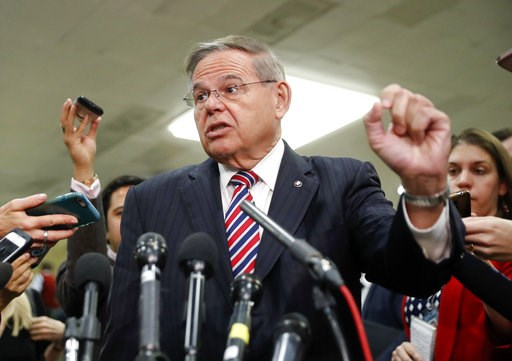 (AP Photo/Pablo Martinez Monsivais). Sen. Bob Menendez, D-N.J., speaks to members of the media after leaving a closed door meeting about Saudi Arabia with Secretary of State Mike Pompeo, Wednesday, Nov. 28, 2018, on Capitol Hill in Washington.