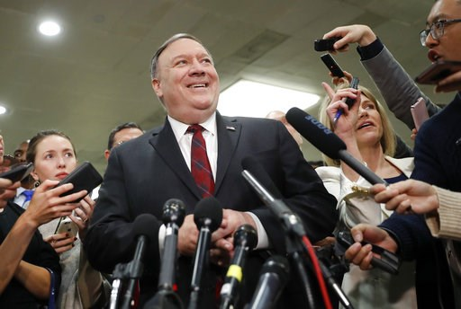 (AP Photo/Pablo Martinez Monsivais). Secretary of State Mike Pompeo smiles while speaking to members of the media after leaving a closed door meeting about Saudi Arabia, Wednesday, Nov. 28, 2018, on Capitol Hill in Washington. Senators who have grown i...