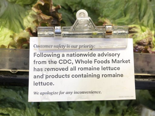 (AP Photo/Matt Rourke). A sign is posted about romaine lettuce at a Whole Foods Market in Jenkintown, Pa, Wednesday, Nov. 28, 2018. After repeated food poisoning outbreaks linked to romaine lettuce, the produce industry is confronting the failure of it...