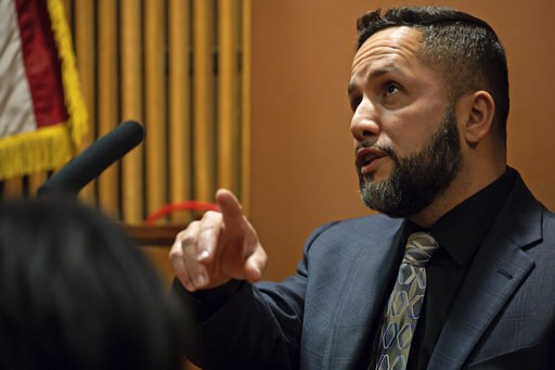 (Zbigniew Bzdak/ Chicago Tribune via AP, Pool). Witness Jose Torres testifies at the trial of Chicago police Officer Thomas Gaffney, former Detective David March and ex-Officer Joseph Walsh with Judge Domenica A. Stephenson at Leighton Criminal Court B...