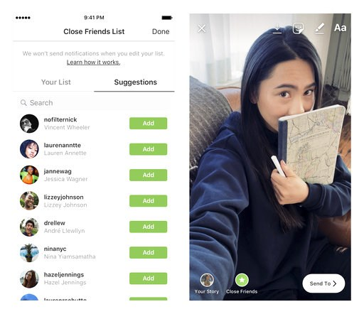 (Instagram via AP). This undated product image provided by Instagram shows a new feature Close Friends, which aims to make it easier to share photos and videos with fewer people. The new feature lets users share Stories, photos and videos that disappea...