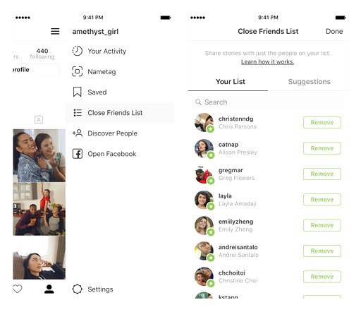 (Instagram via AP). This undated product image provided by Instagram shows a new feature Close Friends, which aims to make it easier to share photos and videos with fewer people. Robby Stein, product director at Instagram, said the feature took more th...