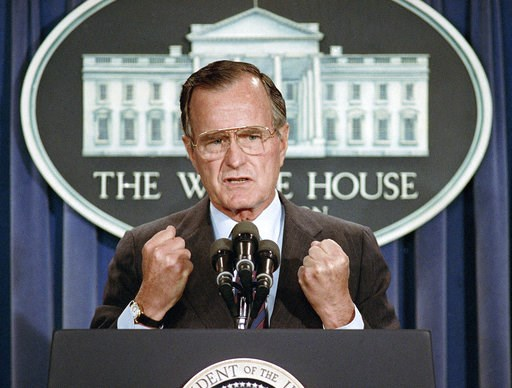 (AP Photo/Marcy Nighswander, File). FILE - In this June 5, 1989 file photo, U.S. President George H.W. Bush holds a news conference at the White House in Washington where he condemned the Chinese crackdown on pro-democracy demonstrators in Beijing's Ti...