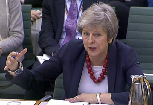 (PA via AP). Prime Minister Theresa May gives evidence before the Liaison Committee on matters relating to Brexit at Portcullis House in London, Thursday, Nov. 29, 2018. The governor of the Bank of England Mark Carney says most British businesses aren'...