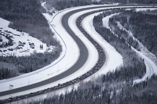 (Marc Lester/Anchorage Daily News via AP). Traffic outbound from Anchorage on the Glenn Highway was at a standstill after a 7.0-magnitude earthquake caused damage in the Anchorage, Alaska, on Friday, Nov. 30, 2018. Scientists say the damaging Alaska ea...
