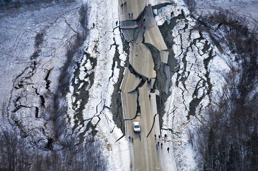 (Marc Lester/Anchorage Daily News via AP). This aerial photo shows damage on Vine Road, south of Wasilla, Alaska, after earthquakes Friday, Nov. 30, 2018. Back-to-back earthquakes measuring 7.0 and 5.7 shattered highways and rocked buildings Friday in ...