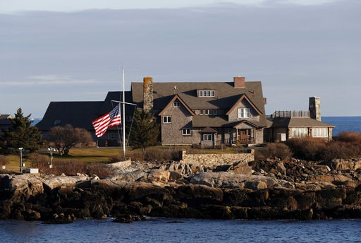 (AP Photo/Robert F. Bukaty). The American flag flies at half-staff in honor of President George H. W. Bush at Walker's Point, the Bush's summer home, Saturday, Dec. 1, 2018, in Kennebunkport, Maine. Bush died at the age of 94 on Friday, about eight mon...