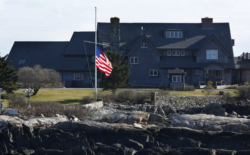 (AP Photo/Robert F. Bukaty). The American flag flies at half-mast at Walker's Point, the summer home of former President George H. W. Bush, Saturday, Dec. 1, 2018, in Kennebunkport, Maine. Bush died at the age of 94 on Friday, about eight months after ...