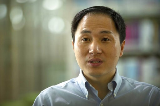 (AP Photo/Mark Schiefelbein). In this Oct. 10, 2018, photo, scientist He Jiankui speaks during an interview in Shenzhen in southern China's Guandong province. China's government on Thursday, Nov. 29, 2018, ordered a halt to work by a medical team that ...