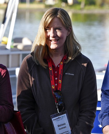 (Dave Schwarz/The St. Cloud Times via AP, File). FILE - In this May 13, 2017 file photo, Minnesota state Rep. Melissa Hortman is seen at the start of the 2017 Governor's Fishing Opener in St. Cloud, Minn. Hortman, the incoming Democratic speaker, says ...