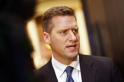(AP Photo/Jim Mone, File). FILE - In this May 10, 2017, file photo, Minnesota House Speaker Kurt Daudt fields a question from reporters outside the House chamber in St. Paul, Minn. The outgoing Republican speaker has had the power to silence debate wit...