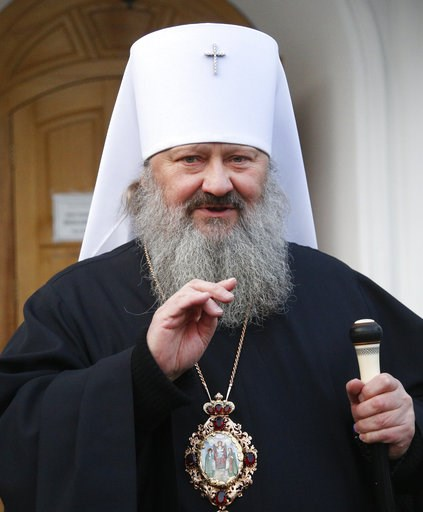 (AP Photo/Efrem Lukatsky). Father Pavlo, who leads the Pechersk Monastery under the Moscow Patriarchate speaks during a briefing in Kiev, Ukraine, Friday, Nov. 30, 2018. Ukraine's intelligence agency announced it was investigating a senior cleric of th...