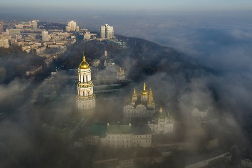 (AP Photo/Evgeniy Maloletka, File). FILE - In this Saturday, Nov. 10, 2018 file photo, an aerial photo of the thousand-year-old Monastery of Caves, also known as Kiev Pechersk Lavra, the holiest site of Eastern Orthodox Christians is taken through morn...