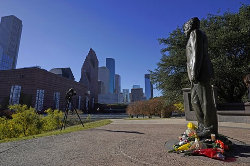(AP Photo/David J. Phillip). A statue of former President George H.W. Bush stands in downtown Houston, Sunday, Dec. 2, 2018. Bush is returning to Washington as a revered political statesman, hailed by leaders across the political spectrum and around th...